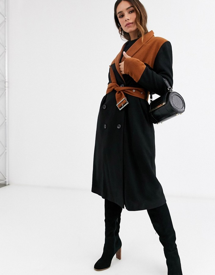 UNIQUE21 contrast belted wool coat-Black