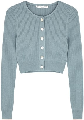 Live The Process Light Blue Cropped Ribbed-knit Cardigan