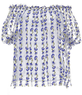 Luisa Beccaria Off-The-Shoulder Blue Blouse