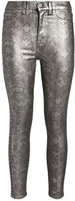 7 For All Mankind Metallic Snake Print Skinny Jeans