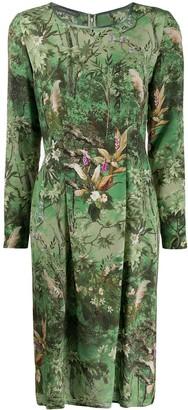 Alberta Ferretti Scoop Neck Floral Print Dress