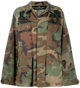 John Richmond Sequin-Embellished Camouflage-Print Jacket