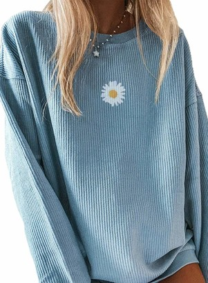CORAFRITZ Women's Casual Knitted Jumper Daisy Print Long Sleeve Sweatshirt Long Knit Pullover Winter Tunic Tops Blouse Blue XL