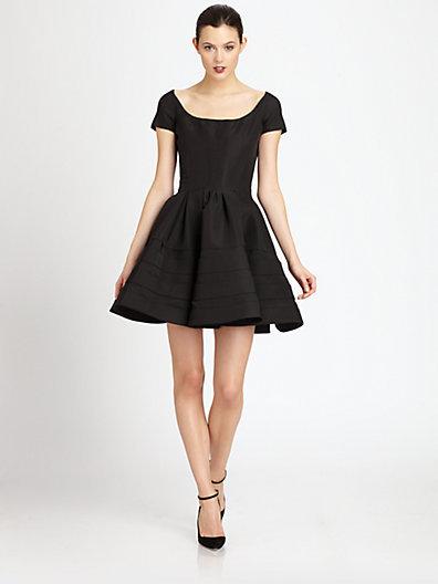 Zac Posen Silk Faille Scoopneck Dress