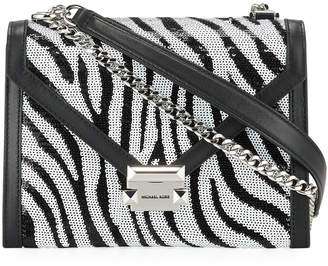 MICHAEL Michael Kors Whitney Zebra-Print Sequin Shoulder Bag