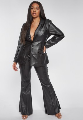 Missguided Plus Size Black Faux Leather Tailored Flared Trousers