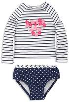Little Me Girls' Striped Floral-Heart Rash Guard & Bottoms Set - Baby