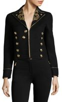 Roberto Cavalli Cropped Embroidered Military Jacket