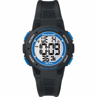Timex Marathon by Unisex TW5K84800 Digital Mid-Size Black/Blue Resin Strap Watch