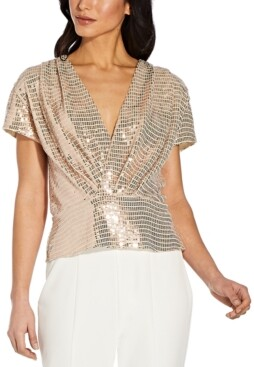 Adrianna Papell Foil-Knit Surplice Top