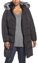 Gallery Plus Size Women's Hooded Down & Feather Fill Stadium Coat With Faux Fur Trim