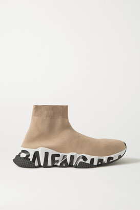 Balenciaga Speed Logo-print Stretch-knit High-top Sneakers - Beige
