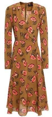 Etro Wrap-effect Floral-print Silk Crepe De Chine Midi Dress