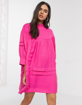 Vero Moda smock dress with high neck in pink