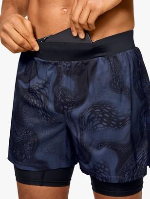 Under Armour Speedpocket Weightless 2-in-1 Running Shorts, Blue/Black