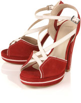 LACROSSE Red Suede Cross Strap Sandals
