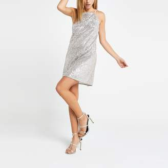 River Island Womens Silver sequin swing dress