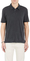 James Perse Men's Jersey Polo Shirt-BLACK