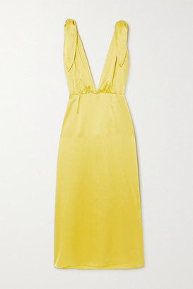 BERNADETTE John Silk-satin Midi Dress - Yellow
