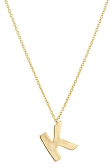 Argentovivo Hammered Initial Pendant Necklace in 18K Gold-Plated Sterling Silver, 18-20
