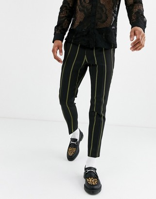 Twisted Tailor tapered cropped smart pants with yellow stripe in black