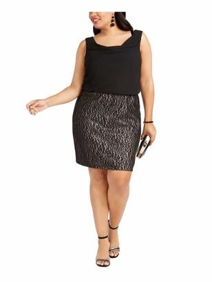 BCX Womens Black Glitter Lace Animal Print Sleeveless Cowl Neck Above The Knee Sheath Cocktail Dress Plus Size: 1X
