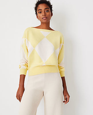 Ann Taylor Argyle Boatneck Sweater