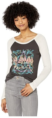 Chaser Def Leopard Hysteria Tour Baseball Tee (Vintage Black/Au Lait) Women's Clothing