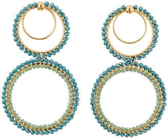 Panacea Crystal Double-Circle Earrings, Light Green
