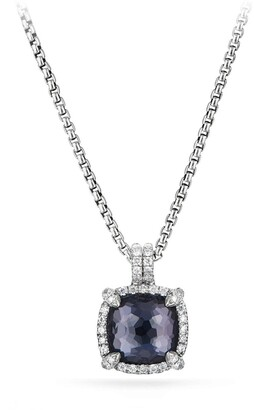 David Yurman Chatelaine Pave Bezel Pendant Necklace with Black Orchid and Diamonds