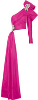 Moschino One-shoulder Embellished Cotton-blend Twill Top - Magenta