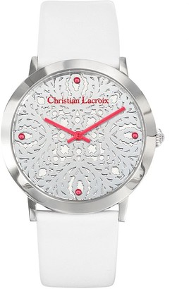 Christian Lacroix Womens Analogue Quartz Watch with Leather Strap CLWE14
