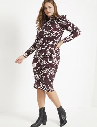 ELOQUII Mock Neck Dress with Sleeve Detail