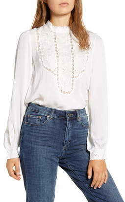 Lucky Brand Florence Embroidered Yoke Blouse