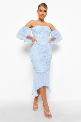 boohoo Mesh Frill Sleeve Lace Bodycon Midi Dress