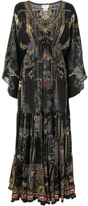Camilla Embroidered Maxi Silk Dress