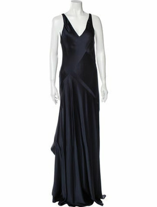 Narciso Rodriguez Silk Long Dress Blue