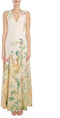 Alberta Ferretti Floral Print V-Neck Dress