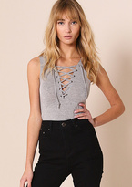 Missy Empire Cassidy Grey Lace Up Sleeveless Bodysuit