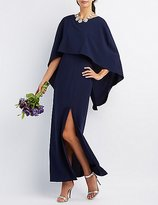Charlotte Russe Backless Caped Maxi Dress