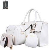Donaword Women 6 Pcs Eegantady PUeather Handbag Shouder Bag Messenger Bag Purse Tote Set