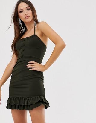 ASOS DESIGN button front frill mini halter dress
