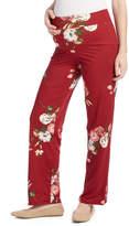 Glam Burgundy & White Floral Straight-Leg Maternity Pants
