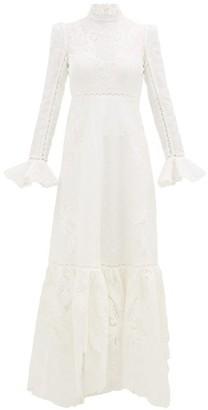 Zimmermann Super Eight High-neck Linen-blend Dress - Womens - Ivory