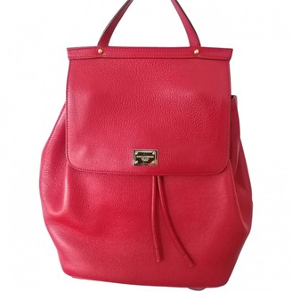 Dolce & Gabbana Sicily Red Leather Backpacks