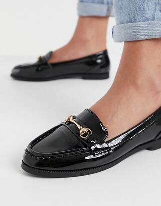 New Look chain detail patent loafer in black