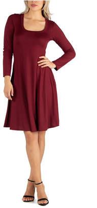 24seven Comfort Apparel Women Long Sleeve Flared T-Shirt Dress