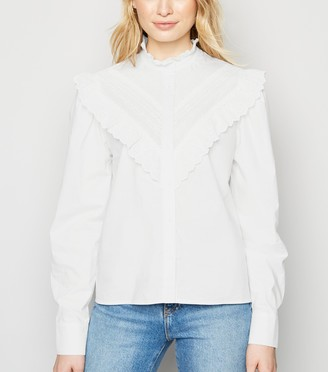 New Look Chevron Broderie Frill Poplin Shirt