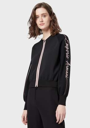 Emporio Armani Mixed Wool Stitched Fabric Bomber With Embroidered Logo