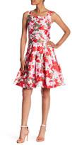 Oscar de la Renta Printed Silk Lined Box Pleat Skirt Dress